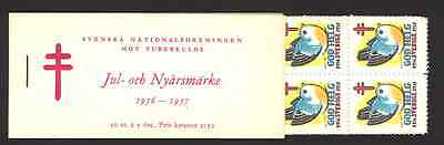 1956 - 1957 Swedish Christmas and New Year booklet 50 seals - 100% Mint