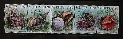 ST KITTS 1996 Sea Shells. Strip of 5. Mint Never Hinged. SG452/456.