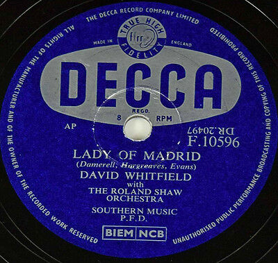 Schellackplatte - David Whitfield - I'll Never Stop Loving You / Lady of Madrid