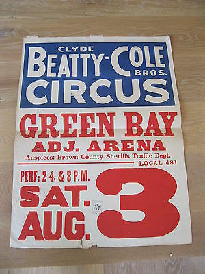 """VINTAGE Clyde Beatty & Cole Bros."""" Circus Poster Green Bay, Wi. Union Label"""