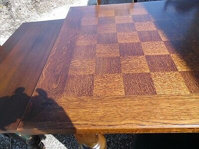 Antique Oak Checkerboard Inlaid Dining Set Six Chairs 2Leaves