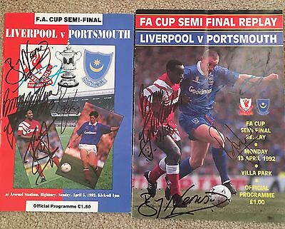 Lfc V Portsmouth 92 FA Cup Semi Final +Replay Programmes And Final Poster Signed