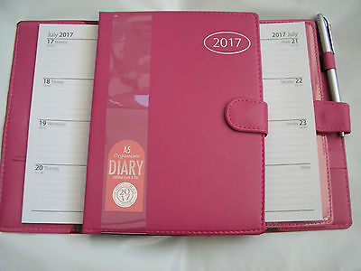 2017 pink leather look diary / organiser  A5 size  with pen