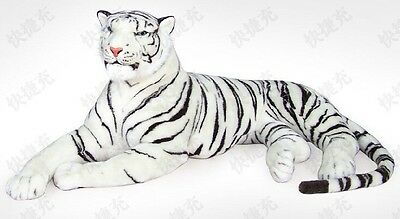 "57"" Ex Large White Siberian Bengal Wild Real Life Lying Tiger Soft Plush  43781X"