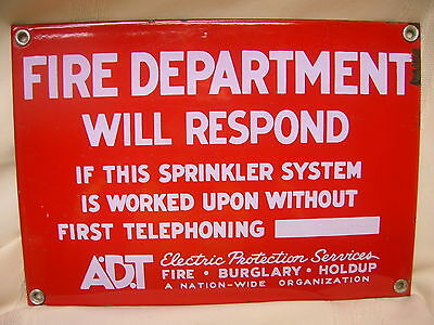"Vintage Porcelain Sign Fire Department ADT 10"" X 7"" Red & White Sign"