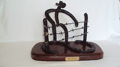 "Horse Shoe Handcrafted Sculpture Signed & Titled ""BEEN THINKIN Western Americana"