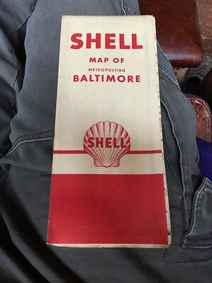 Vintage 1954 SHELL BALTIMORE Oil Gas Service Station Road Map