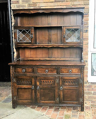 Solid Oak Dresser Display Cabinet Country Farm House Style [2/2]