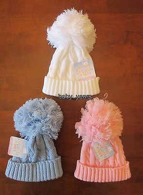 Baby Knitted Pom Pom Hat Bobble White Pink Blue  Boys Girls Winter Wear 0-6 Mth