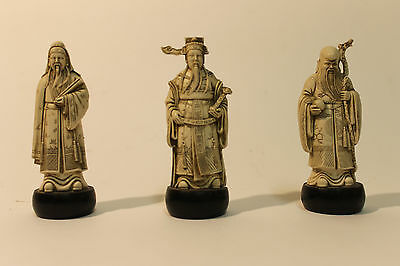 Three Vintage Chinese Immortals Statues