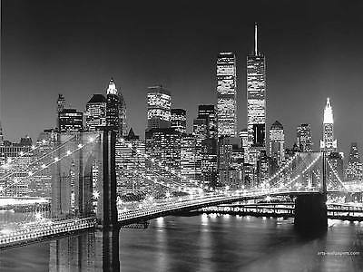 """New York Skyline Wall Art Canvas Picture Large 18"""" X 32"""" Black & White"""