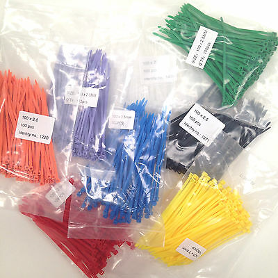 100 Cable Ties 100 x 2.5mm Zip Tie Wraps in Various Colours