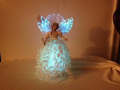 Fiber Optic Angel Christmas Table Decor Plastic Bead Gown Assort.Changing Colors