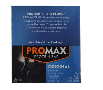 New Promax Nutrition Energy Bars Chocolate Chip Cookie Protein Daily Body Care