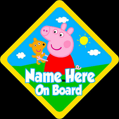 Personalised Peppa Pig Car Sign Baby on Board Safety New Design Yellow