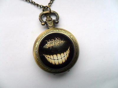 """Alice in Wonderland Cheshire Cat """" We are all Mad Here """" Bronze Necklace Watch"""