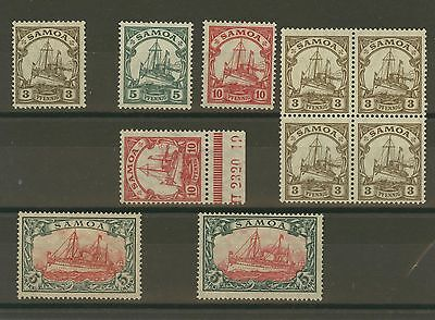 Samoa German Colony ship set Michel 20 - 23 including A and B MLH