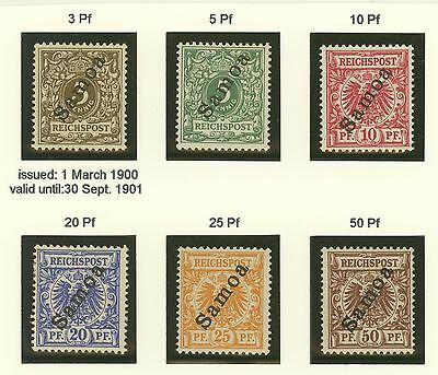 Samoa German Colony first set Michel 1-6 MLH