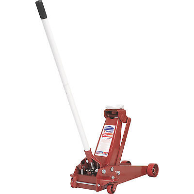 Sealey 3t Heavy Duty Yankee Trolley Jack 133 - 515mm Lift with Axle Stands