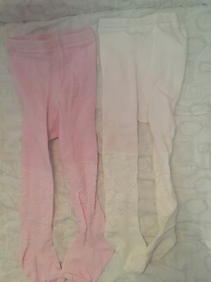BNWOT 2 X Baby Girl Tights Pink & White With Hearts Tu From Sainsburys