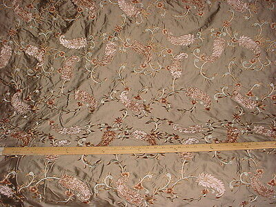 6+Y Colefax Fowler Embroidered Floral Leaf Stem Velvet Silk Upholstery Fabric