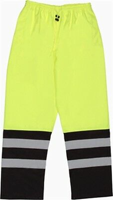 ERB Safety 62108 S649 Ansi Class E Two Tone Rain Pants Hi-Viz Lime Large