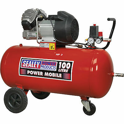 Sealey Electric Air Compressor with 100L Tank & Wheels 3.0hp 240v