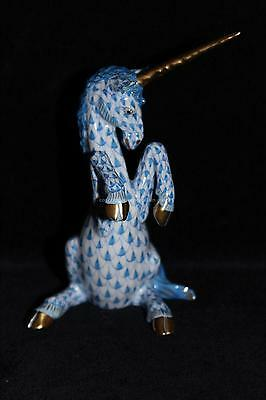 HEREND porcelain figurine Unicorn blue fishnet china figure PERFECT