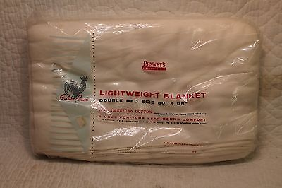 """Vintage New Old Stock Penneys Golden Dawn White Wool Blanket Double 80"""" X 95"""""""