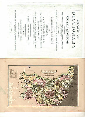 1808 Suffolk Map. B P Capper. Topographical dictionary of United Kingdom