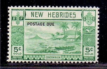 New Hebrides - 5c Blue Green. LH Mint with Postage Due overprint. 1938