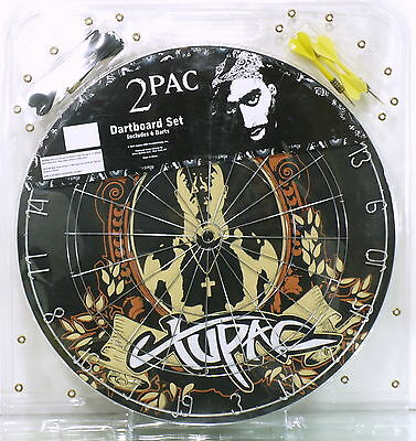 2Pac Tupac Shakur Signature Design Dart Board with 6 Darts + Instructions New
