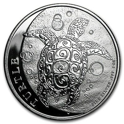 2017 1 oz New Zealand Silver $2 Nuie Hawksbill Turtle Coin