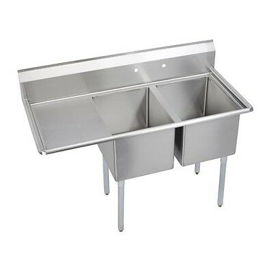 "Deluxe 2-Compartment Sink, 24"" left drainboard"