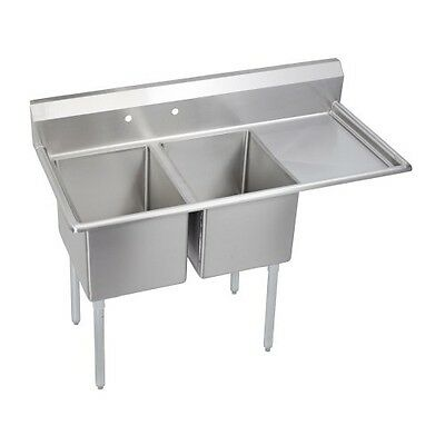 "Deluxe 2-Compartment Sink, 24"" right drainboard"
