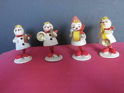 Vintage 4 piece Girl Elf Christmas Band 1940 Japan Band Leader Cymbals Drum Horn