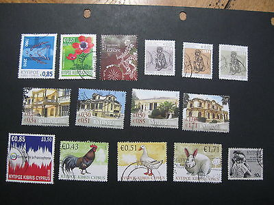 Cyprus selection of 15 modern used stamps - good cat