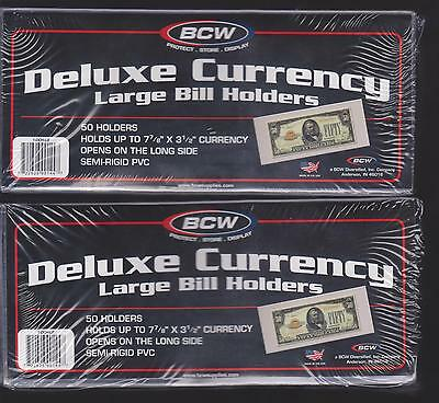(100) Large Bcw Deluxe Currency Sleeve Bill Paper Note Money Holders Semi Rigid