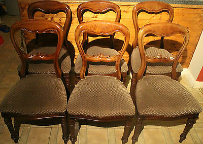 Set of 6 Antique Mahogany ? Balloon Back Dining Chairs with original upholstery
