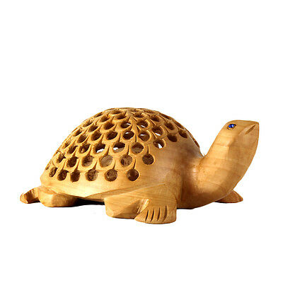 Large Wooden Handicraft Carved Tortoise Unique Fine Carved Wood Collectible