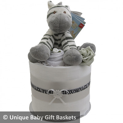 Nappy cake with socks & scratch mittens neutral baby shower baby gift basket