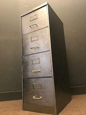 Vintage Industrial Stripped Metal 4 Drawer  Filing Cabinet Storage With Key