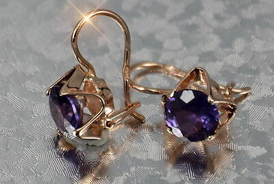 veax142rp Russian Soviet rose  gold plated  Silver Alexandrite earrings