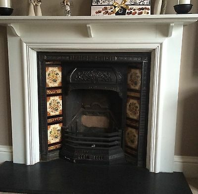 Beautiful Victorian Cast Iron Fireplace Insert With Original Tiles