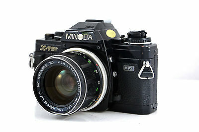 Minolta X700 slr in black with MC W.Rokkor HG f2.8/35mm wide angle lens