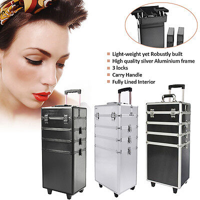Cosmetic Case Makeup Nail Case Vanity Hairdressing Beauty Box Trolley 4 in 1 UK