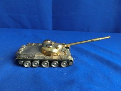 F7977) altes Spielzeug Panzer Messing? ca. 20 cm lang