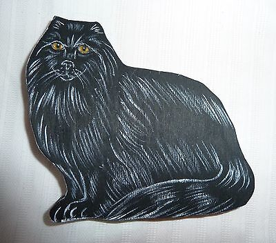 """Black Cat, Long-haired made of Wood, Shelf Sitter size 3-3/4"""" x 3-1/2"""""""
