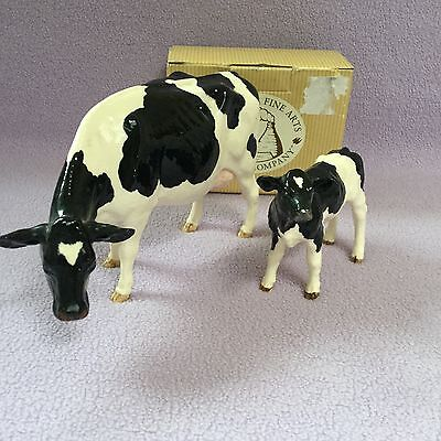"Border fine arts Pottery Company "" FRIESIAN COW and CALF """