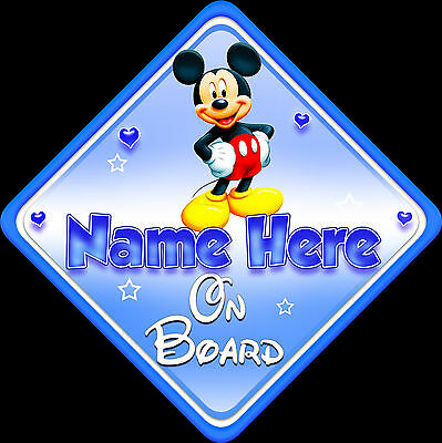Personalised Baby On Board Car Sign ~ Window, Safety.Mickey Mouse New Blue